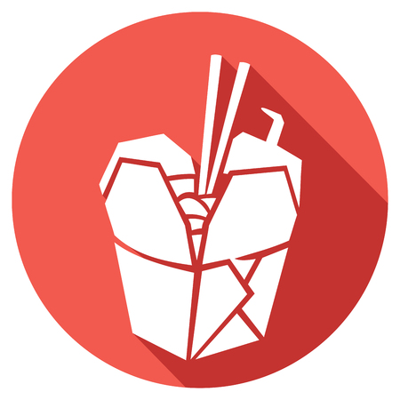 Illustration pour chinese fast food flat icon (chinese takeout box, chinese take-away container) - image libre de droit