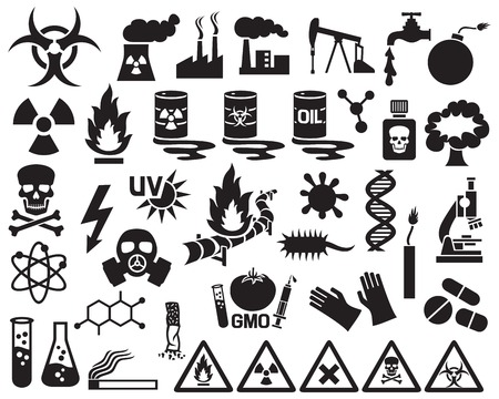 hazard, pollution and danger icons set (barrels with nuclear waste, gas mask, nuclear power station, cigarette, DNA, dynamite, explosion, factory, gas, biohazard, gas mask, radiation sign, pipeline)