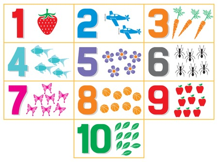 Illustration pour learning numbers for kids (counting game for kindergarten kids) - image libre de droit