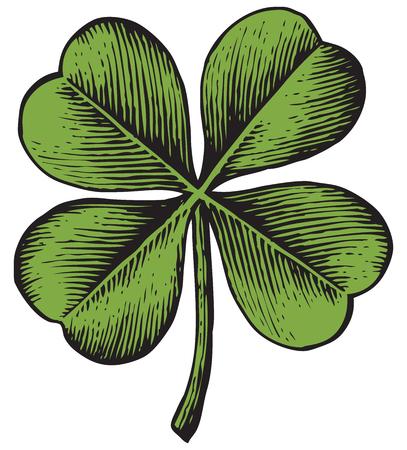 Ilustración de clover with four leaf - vintage engraved vector illustration (hand drawn style) - Imagen libre de derechos