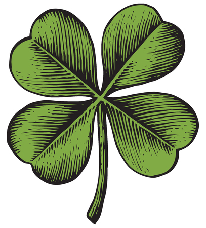 Illustration pour clover with four leaf - vintage engraved vector illustration (hand drawn style) - image libre de droit