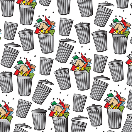 Illustration for Vector background pattern with trash can. - Royalty Free Image
