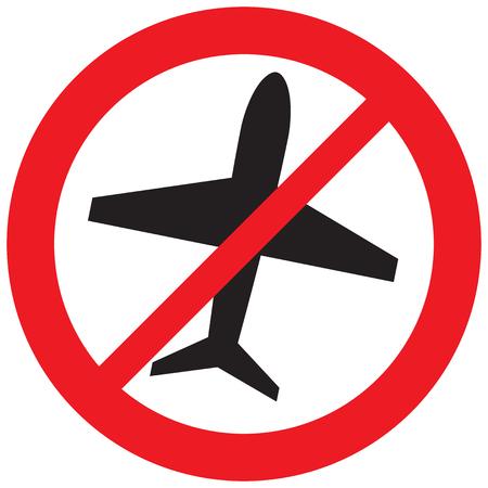 Ilustración de no airplane symbol, forbidden flight sign (prohibition icon) - Imagen libre de derechos