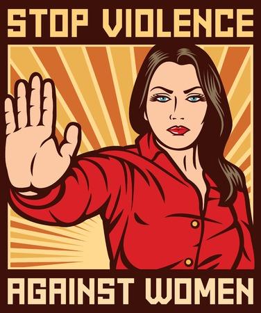 Ilustración de stop violence against women poster - Imagen libre de derechos