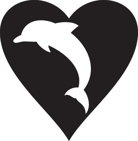 Illustration pour Dolphin and heart vector icon - image libre de droit
