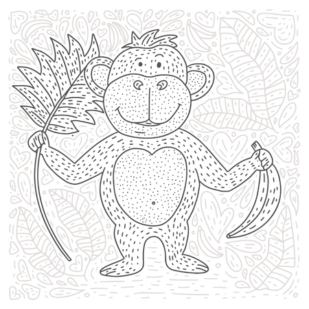 Illustration pour Coloring vector page with cartoon doodle animal. Outline playful card with a monkey, bananas and palm leaves. - image libre de droit