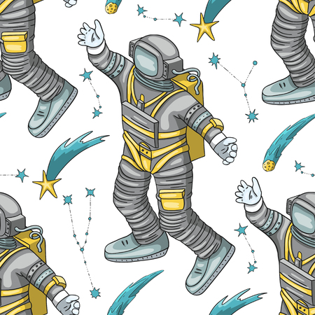 Illustration for Astronaut vector seamless pattern. Cosmos cartoon illustrations. Spaceman flying in the other space. Universe galaxy background. Falling stars - make a wish. - Royalty Free Image