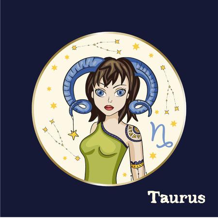 Zodiac Girl Vector Sign. Cartoon Taurus astrology round badge illustration. Horoscope drawing.