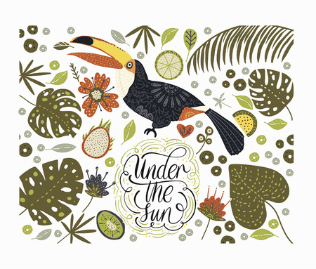 Illustration pour Bright bird Toucan with tropical flora and lettering quote. - image libre de droit