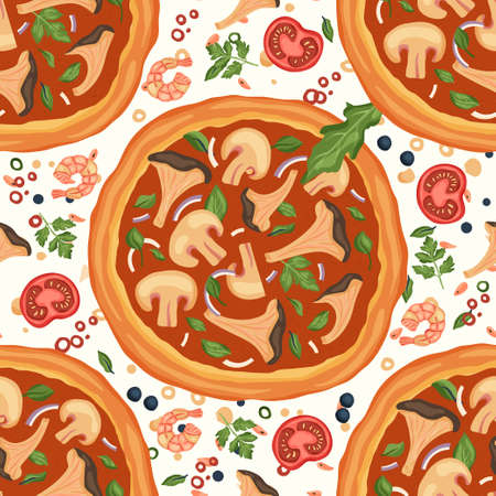 Italian cheese mushroom pizza vector illustration with chanterelles and champignons. Delicious tasty snack seamless pattern with tomato and scripm. Flat design.