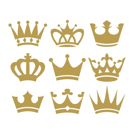Crown icons.  illustration isolated on white background. Vector.