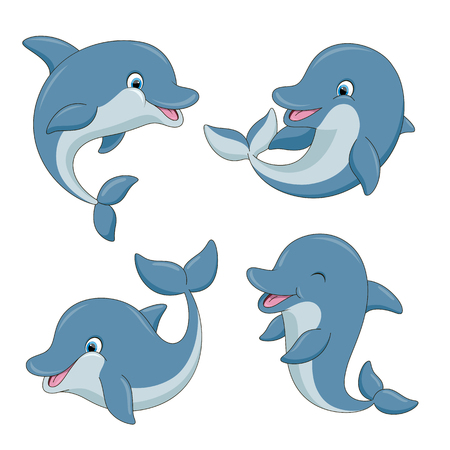 Cute cartoon dolphins set. Vector illustration with simple gradients. All in a single layer.