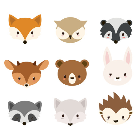 Illustration for Cute woodland animals collection. Animals heads isolated on white background. - Royalty Free Image