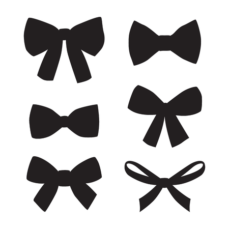 Set of graphical decorative bows. Vector sillouettes isolated on white background.