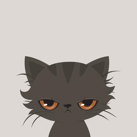 Illustration pour Angry cat cartoon. Cute grumpy cat, illustration. - image libre de droit