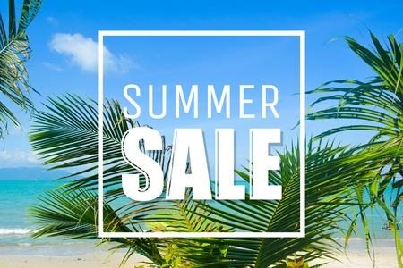 Summer sale text, clouds, palms and sea.