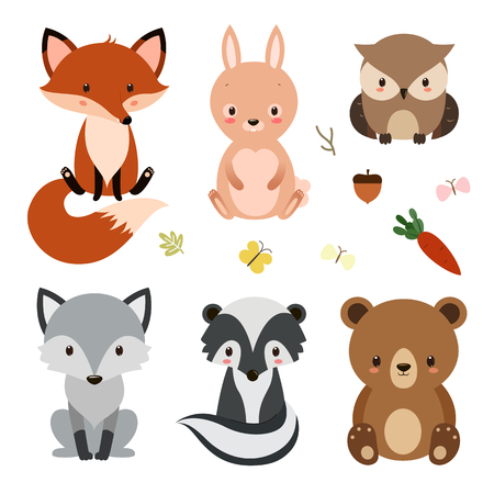Illustration for Set of cute woodland animals isolated on white background. - Royalty Free Image