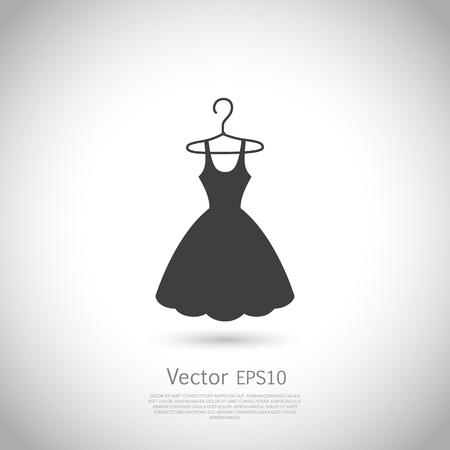 Ilustración de Black dress on hanger. Dress icon, logo. Vector illustration. - Imagen libre de derechos