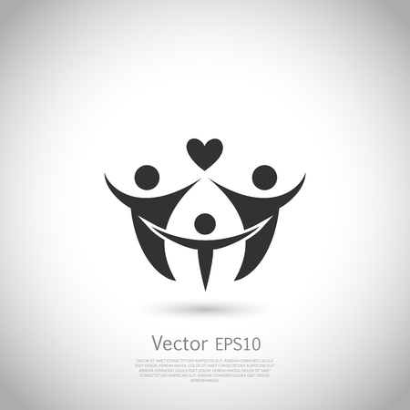 Illustration for Happy family icon. Vector silhouette on gray background with place for your text. - Royalty Free Image
