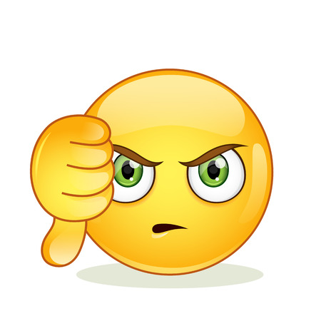 Illustration pour Dislike sign smiley emoticon. Vector illustration isolated on white background. - image libre de droit