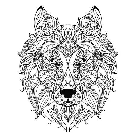 Stylized Wolf Head Isolated On White Background Image For Coloring