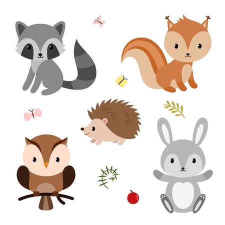 Photo pour Woodland animals set like raccoon and bunnies. - image libre de droit