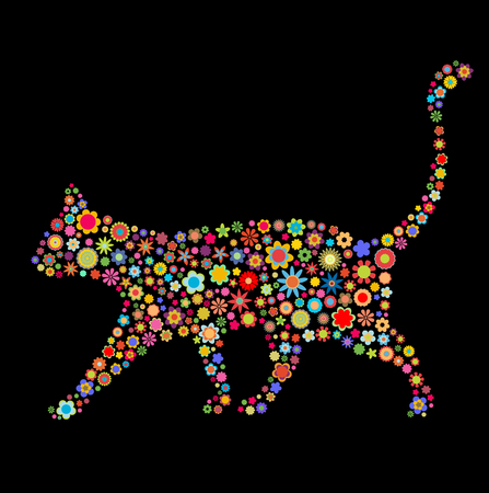 Vector illustration of cat shape  made up a lot of  multicolored small flowers on the black background