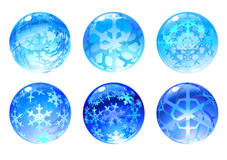 Vector illustration of the beautiful blue balls set decorated with snowflakes.