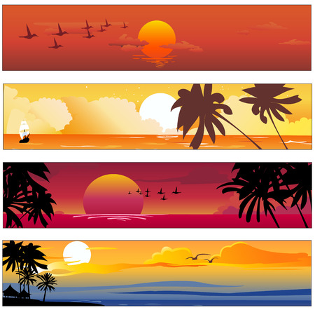 Illustration pour Vector illustration of Colorful banners set with tropical summer designs  - image libre de droit