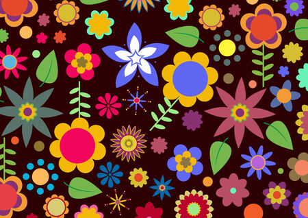 Vector illustration of multicolored funky flowers abstract pattern on black background