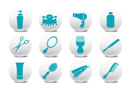 Vector illustration of  buttons set or design elements relating to hairdressing salon.
