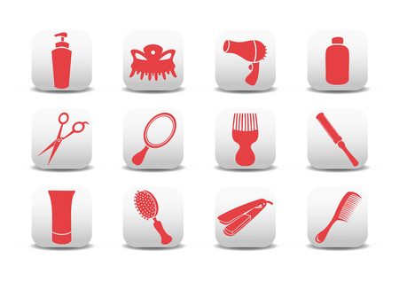 Vector illustration of  icon set or design elements relating to hairdressing salon.