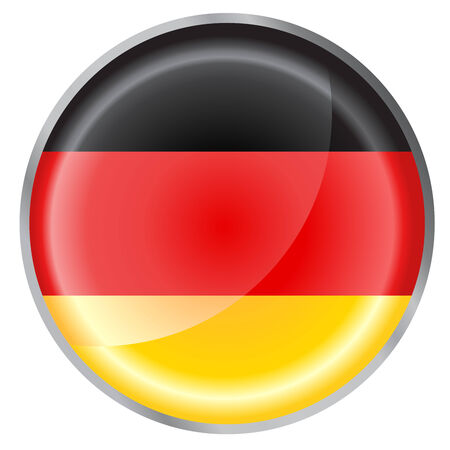 Vector illustration of round button decorated with the flag of germany