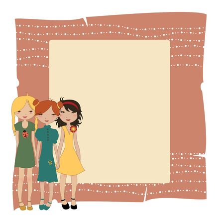 Vector Illustration of cool invitation banners with funky Young girls