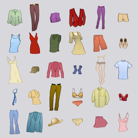 Vector illustration of cool men and women clothes icon set