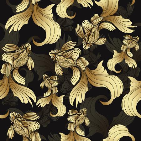 Ilustración de Gold fish, seamless pattern. Decorative abstract fish, with golden scales, curled fins on black background. Jewel ornament. Rich, luxurious design element. Wallpaper, fabric design, textile print - Imagen libre de derechos