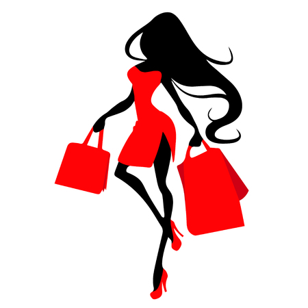 Illustration pour Silhouette woman with shopping bag, vector banner template for female shopping, sales, black friday design. Beautiful girl in red dress in high heels with purchases in hands - image libre de droit
