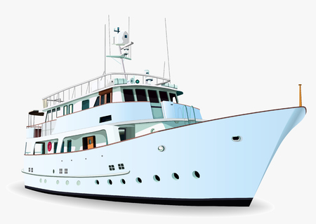 Illustration pour Yacht vector, realistic painted ship with many details, isolated on white background - image libre de droit