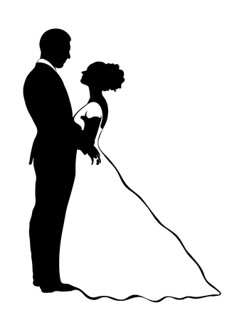 Illustration pour Bride and groom silhouette, vector icon, contour drawing, black and white illustration. Couple in love hugging looking at each other, dressed in a wedding dress and suit, isolated - image libre de droit