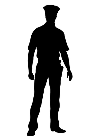 Ilustración de Police officer vector silhouette, outline man standing front side full-length, contour portrait male cop in a police uniform with arms, isolated on white background, monochrome - Imagen libre de derechos