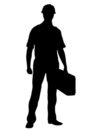 Illustration for Builder vector silhouette, outline male workman repairman standing front side full-length, contour portrait human in coveralls, with a suitcase for tools in hand, isolated on white - Royalty Free Image