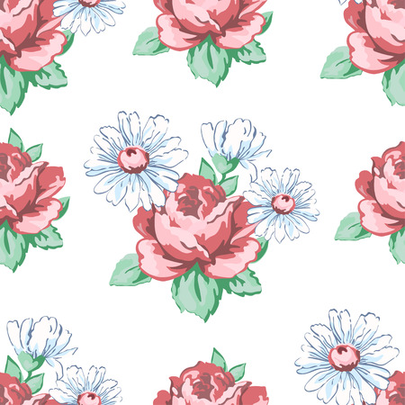 Rose and chamomile flower hand drawing seamless pattern, vector floral background, floral embroidery ornament. Drawn buds pink rose flower and white chamomile on white backdrop. For fabric