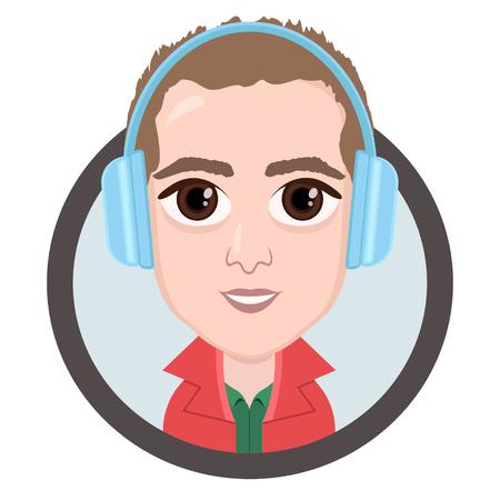 Cartoon Character Vector Drawing Portrait Boy In Headphones