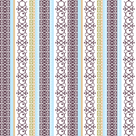 Illustration pour Abstract ethnic seamless pattern, vector illustration, vintage ornamental background. Ornate vertical multicolor colorful tracery for fabric design, textile, wallpaper and decoration, tribal art print - image libre de droit
