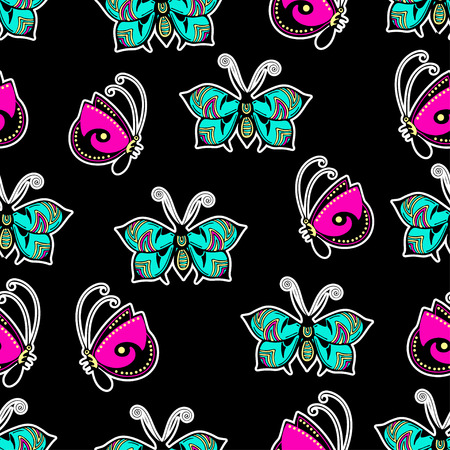 Illustration for Abstract butterflies seamless pattern, hand drawing, textile print, vector illustration. Patterned colorful bright insect with wings and white stroke on black background. For fabric design, wallpaper - Royalty Free Image