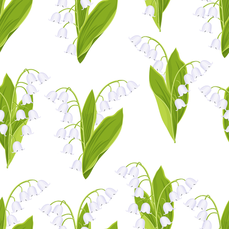 Illustration pour Lily of the valley floral seamless pattern, vector illustration. White buds forest flowers bluebells, green stalk and leaves isolated on white background. For fabric design, print, textile, wallpaper - image libre de droit