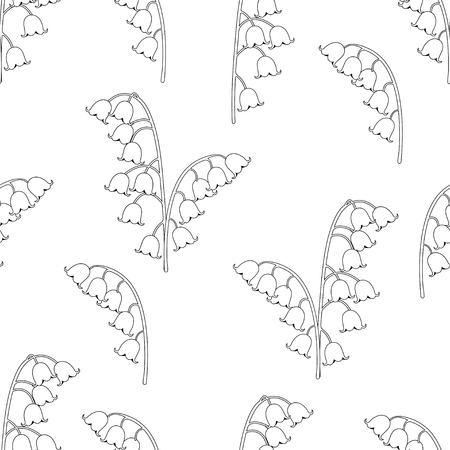 Illustration pour Lily of the valley floral seamless pattern, black and white drawing, coloring, vector illustration. Outline buds flowers bluebells, stalk and leaves isolated on white background. For fabric design - image libre de droit