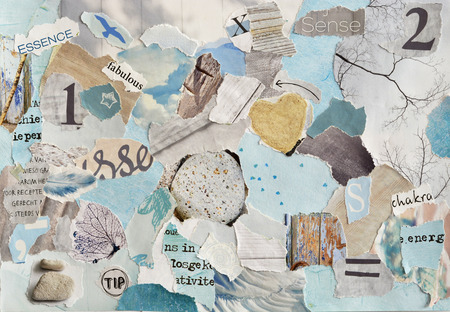 Foto de serene zen Creative Atmosphere art mood board collage sheet in color idea aqua blue, mint green, gray, white maggot or teared magazine paper and printed matter with colors and textures - Imagen libre de derechos