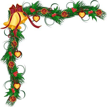 Illustration pour Vector illustration of a Christmas garlands - image libre de droit