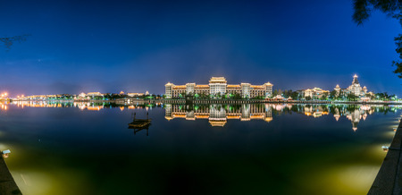 Panorama of Nightscape at  Longzhou pond in Jimei, Xiamen
